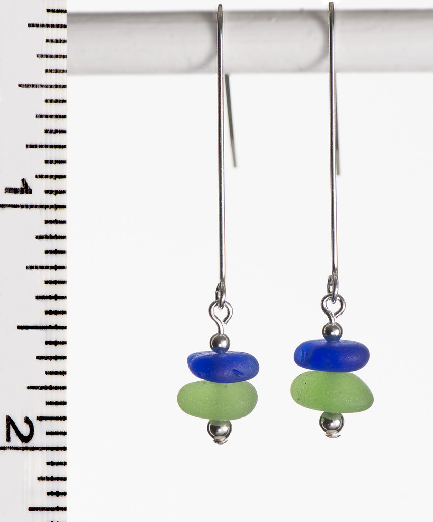Green and Cobalt Sea Glass Long Earrings