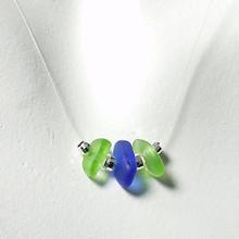 Lime & Cobalt Tri-Glass Illusion Necklace