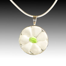 Clear Petals & Lime Center Beach Glass Pendant