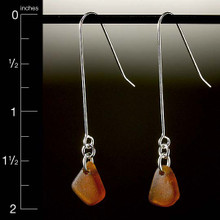 Brown Beach Glass French Wire Earrings