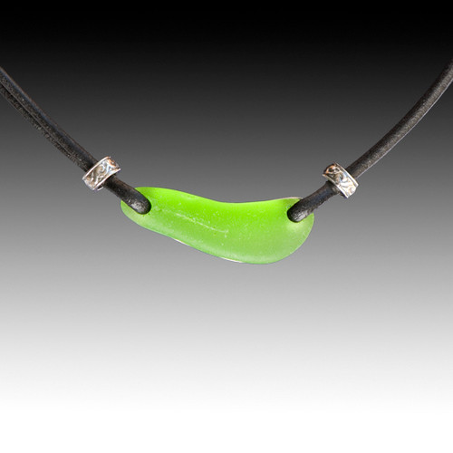 Lime Beach Glass with Black Leather Necklace