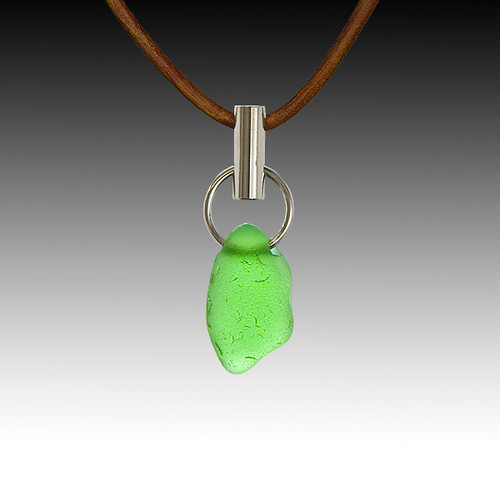 Green Beach Glass Post Pendant