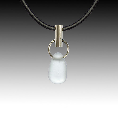Grey Beach Glass Post Pendant