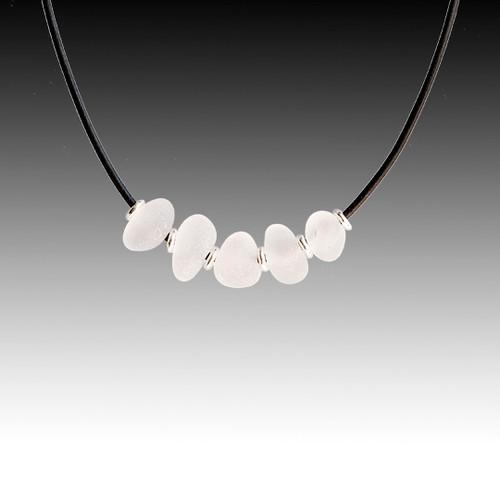 Clear Beach Glass Strung Necklace