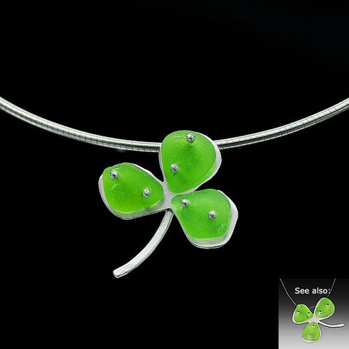 Shamrock Beach Glass Omega Necklace