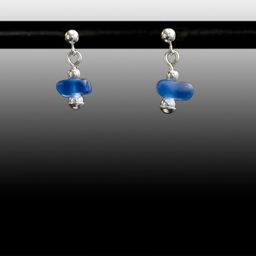 Periwinkle Sea Glass Ball Post Earrings