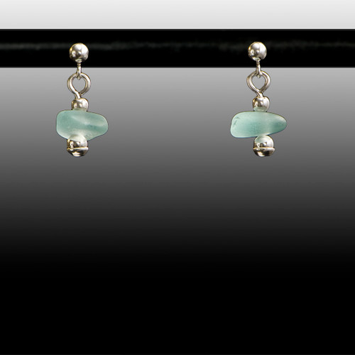 Aqua Sea Glass Ball Post Earrings