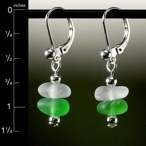 Green with Clear Sea Glass Center Drilled Leverback Earrings