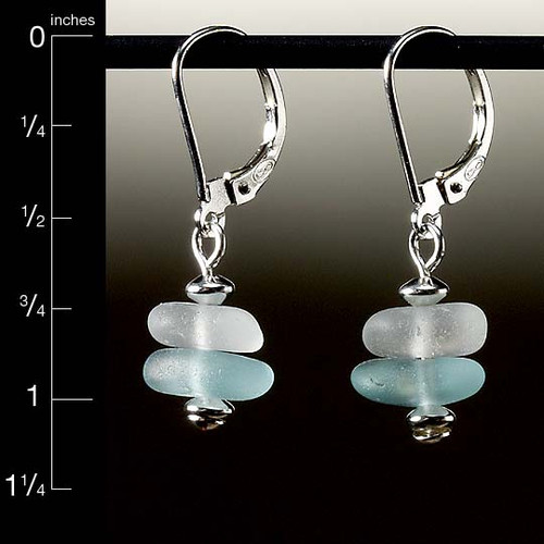 Aqua with Clear Sea Glass Center Drilled Leverback Earrings