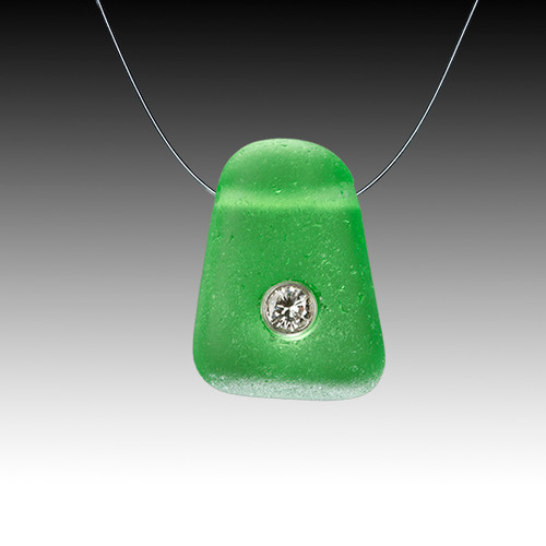 Green beach glass a diamond illusion necklace