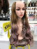 Crown round shape hair extensions light brown ombré Pastel pink