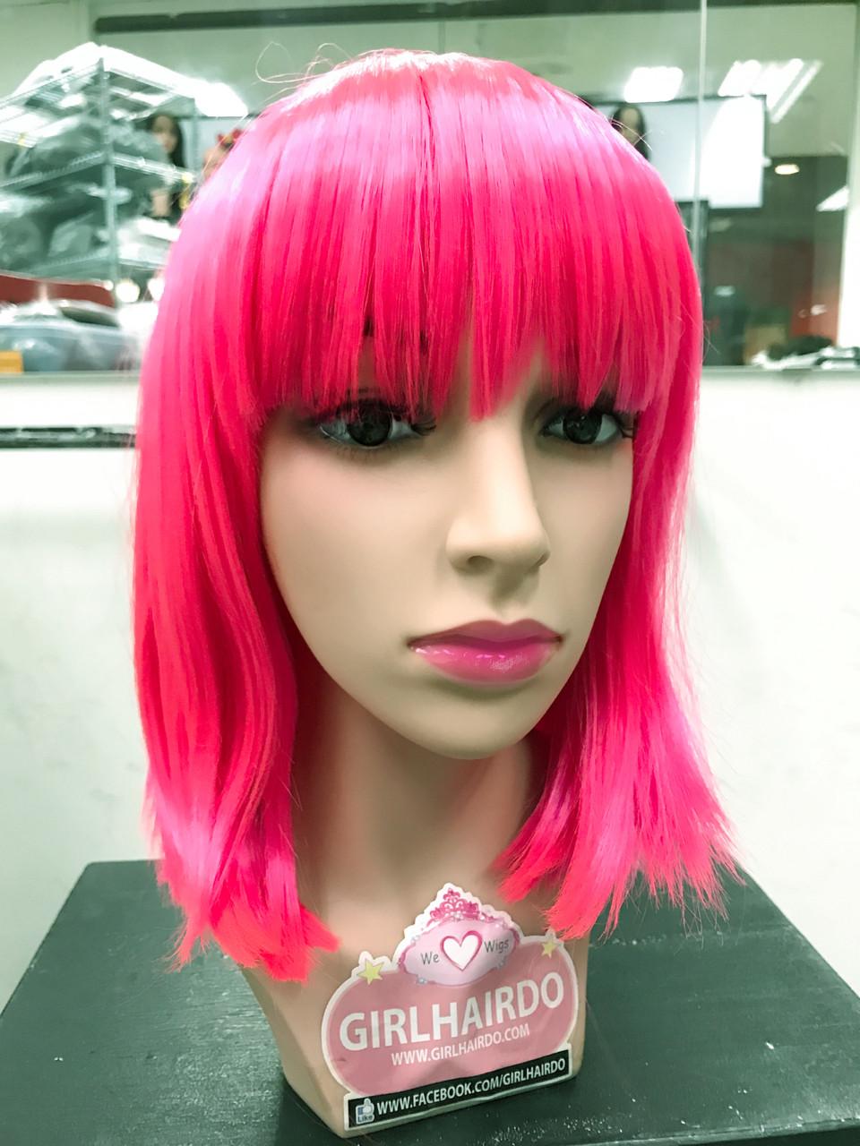 Neon Bright Pink Bob Wig Girlhairdo Singapore Hair Extensions