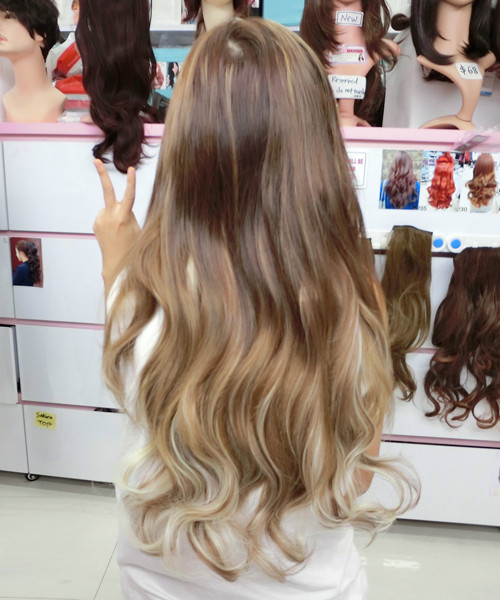 005W 10H613C beautiful highlighted brown and blonde hair extension ...