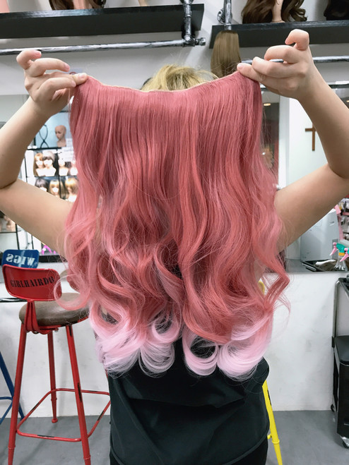 Flamingo Pink hair extensions 190g