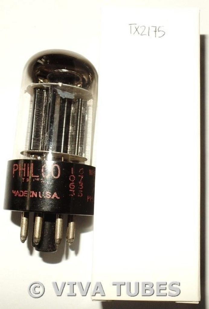 1967 Philco USA 6SN7GTB Black T Angled 5 Rivet Holes Plate Vacuum Tube 68/71%