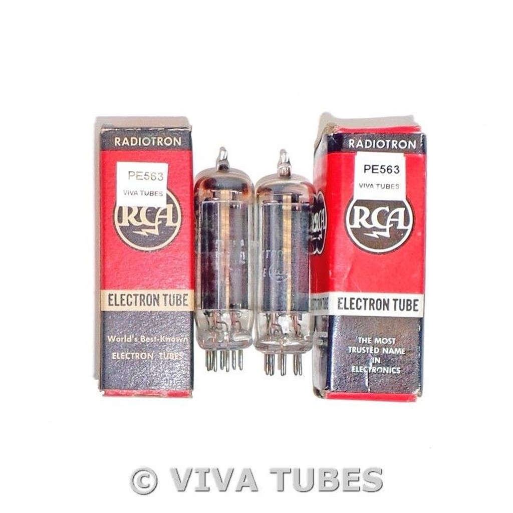 Matched Pair RCA USA 50B5 Black Smooth Plate Top [] Get Vacuum Tubes 81% & 95%