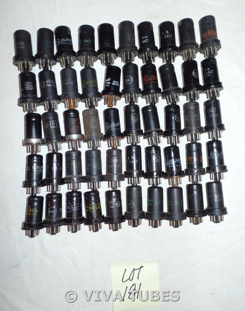 Lot of 50 6AC7 Metal Loose Vacuum Tubes. Untested Mixed Brands. Not NOS.
