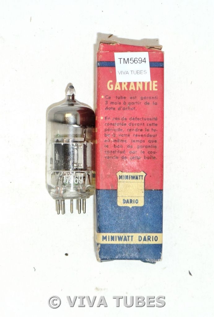 NOS NIB Miniwatt Dario / Amperex France 6U8 [ECF82] Gray/Black Plate Vacuum Tube