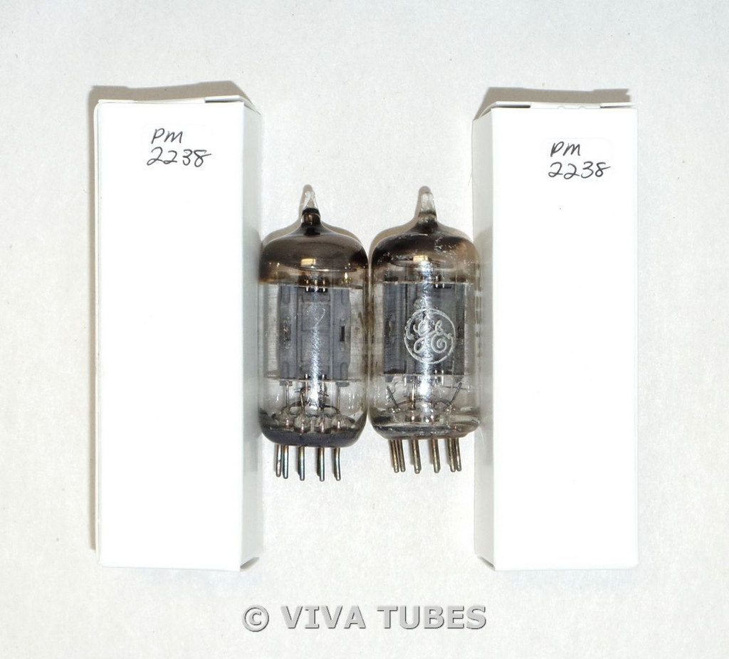 NOS Matched Pair Ken-Rad (by GE) USA 12AU7 Carbonized Plate D Get Vacuum Tubes