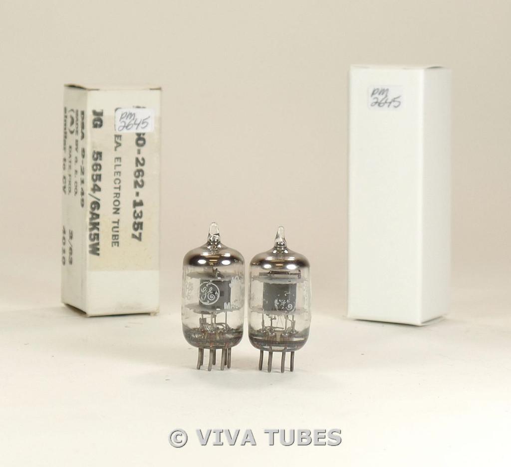 NOS Matched Pair GE USA JG-5654/6AK5W Gray Plate Top O Get Vacuum Tubes 100+%