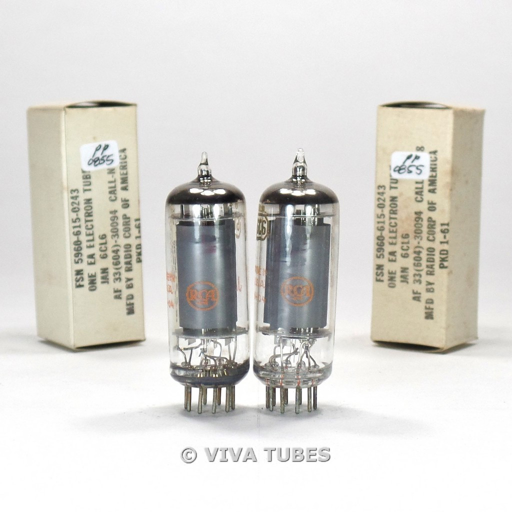 True NOS NIB Date Matched Pair RCA USA JAN-6CL6 Grey Plate 3 Mica Vacuum Tubes