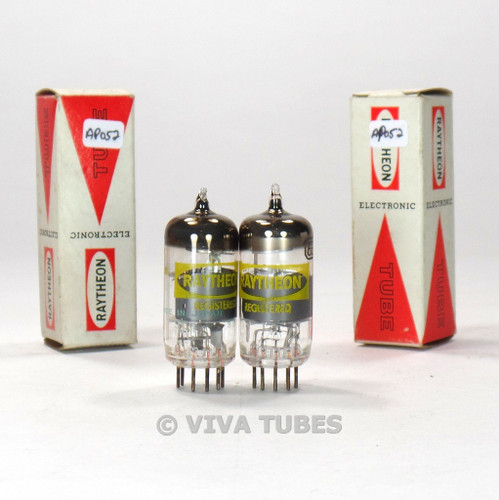 True NOS NIB Date Matched Pair Raytheon Japan 6EA8 = 6GH8A Smoked Vacuum Tubes