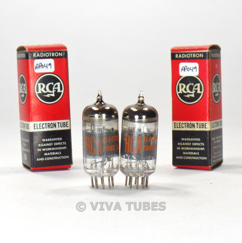 True NOS NIB Date Matched Pair RCA 6EA8 = 6GH8A Gray/Black Plate Smoked Tubes