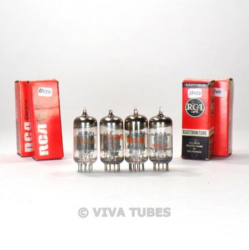 True NOS NIB Matched Quad (4) RCA USA 6EA8 = 6GH8A Gray/Black Plate Vacuum Tubes