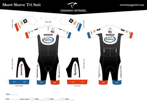 All 3 Sports  Short Sleeved Tri Suit