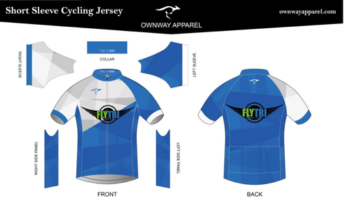 Fly Tri Short Sleeve Jersey - Blue & White