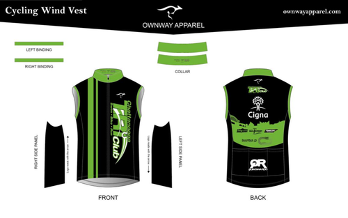 Chattanooga Tri Club Cycling Wind Vest