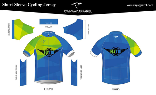 Fly Tri Short Sleeve Jersey - Green & Blue