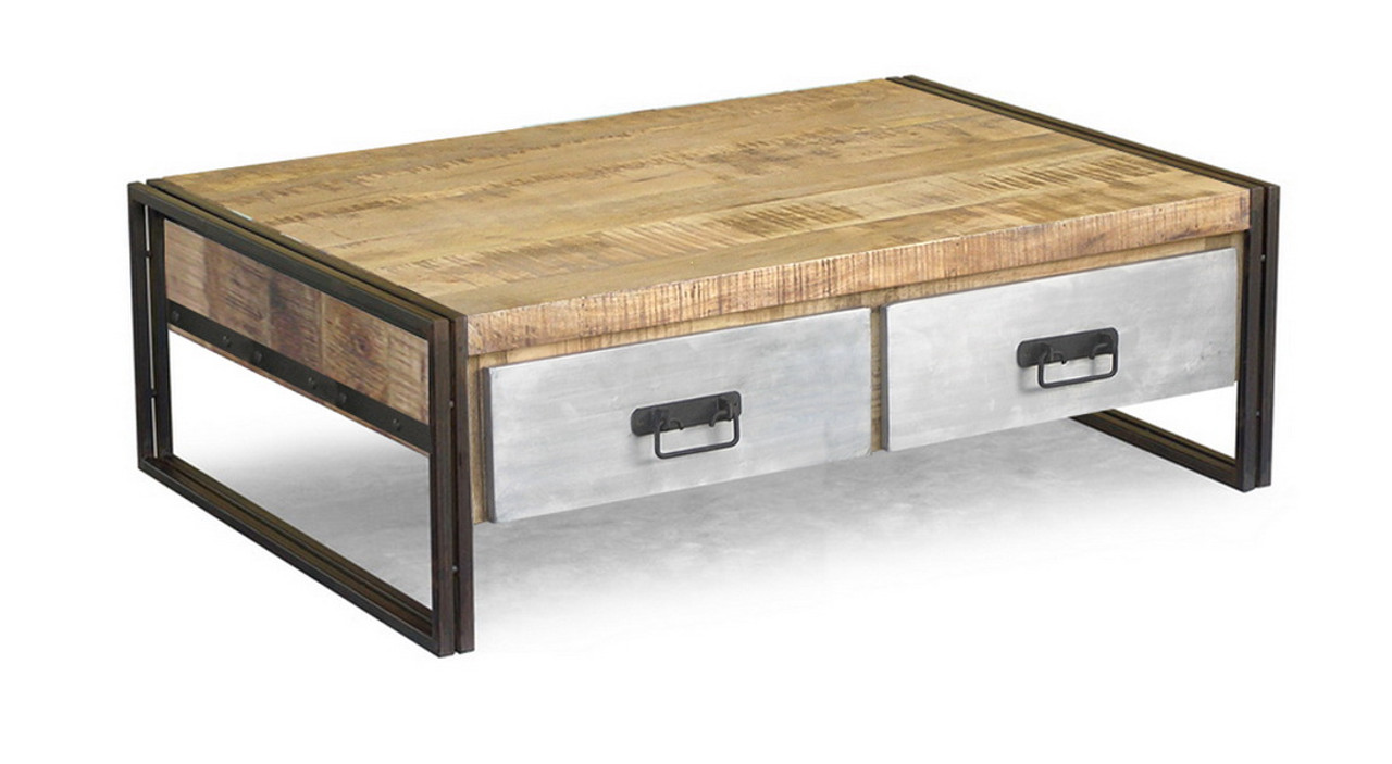 Etonnant Reclaimed Wood Coffee Table With Metal Drawers