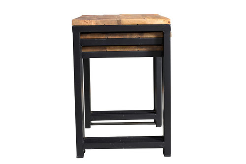 Industrial Wood Metal Nesting Table Timbergirl - Nesting table with drawer