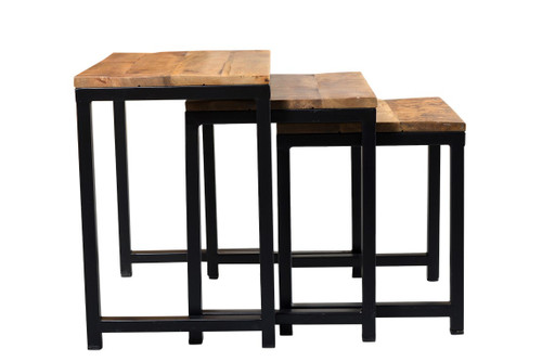 ... Industrial Wood Metal Nesting Table AA1287 4 ...