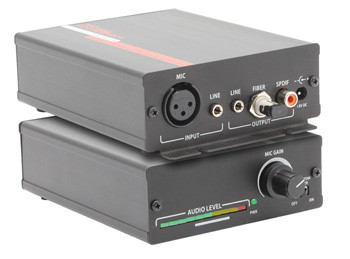 Compact XLR Microphone Amplifier With Stereo Line Level Mixer, Phantom Power