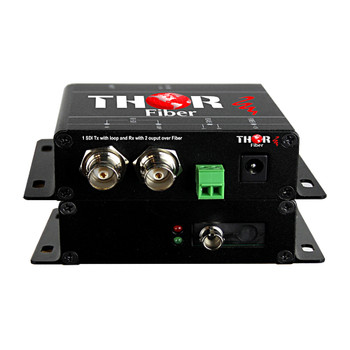 1Ch HD-SDI Transmitter with loopout & Receiver with 2 outputs over Singlemode Fiber kit 20km ST/PC