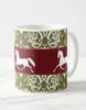 Elegant Damask Pattern with Trotting Horse Equestrian Coffee Mug