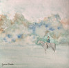 """6""""x6"""" equestrian watercolor painting on watercolor paper"""