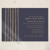 Gold and Navy Blue Fun Artistic Doodles Wedding Invitations