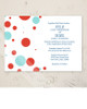 Red white and blue modern polka dots wedding or party invitation