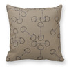 Beige Horse Bits Pattern Equestrian Throw Pillow