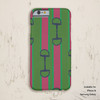 Pink and Green Equestrian Bit Pattern Iphone or Samsung phone case