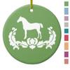 Apple Green Damask Horse Equestrian Christmas Ornament