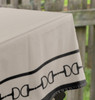 Black and Tan Beige Horse Bits Border Classic Equestrian Table Cloth for any occasion.