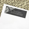 Chalkboard damask patterned rustic wedding return address labels