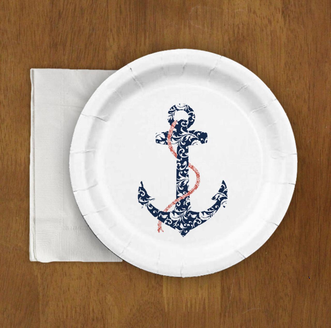 Nautical Wedding Ship Anchor Paper Party Plates (8 pk) & Nautical Wedding Ship Anchor Paper Party Plates (8 pk) - The ...