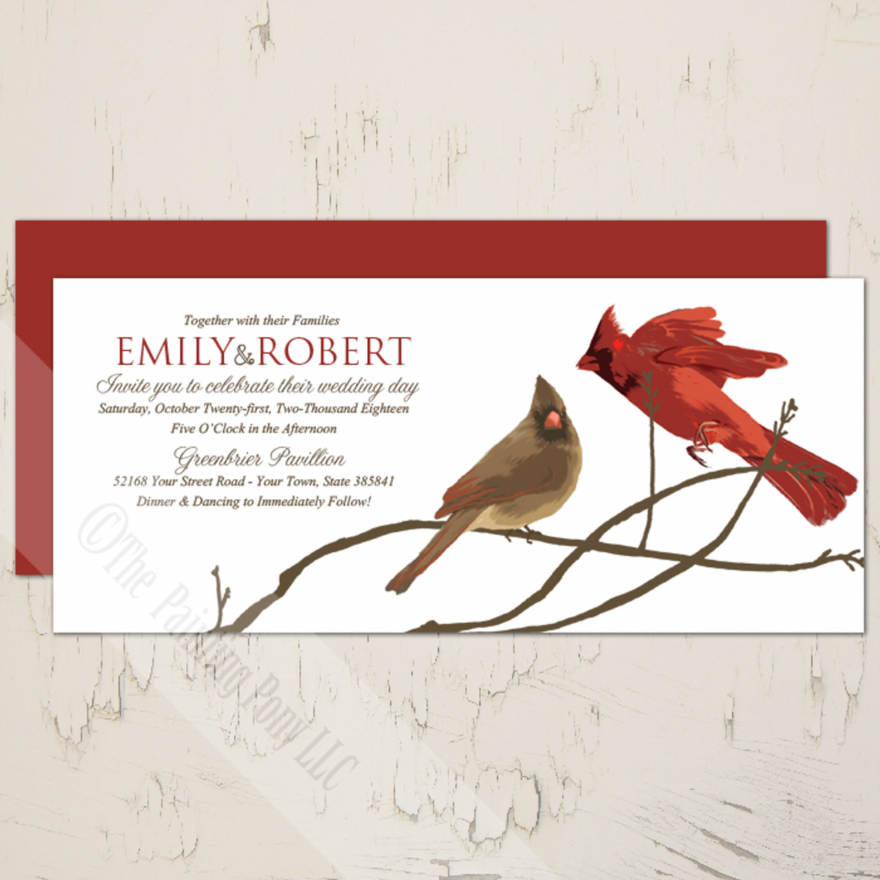 Winter Cardinals Wedding Invitation (10 pk) - The Painting Pony