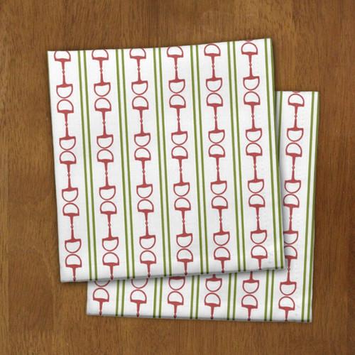 Festive Christmas Snaffle Horse Bits and Stripes Napkins