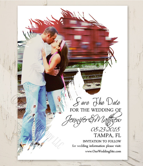 Equestrian Engagement Photo Horse Head Save The Date Card